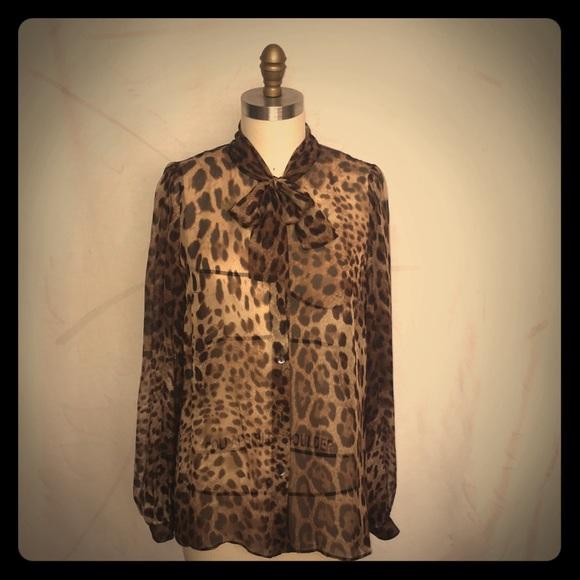 120e02b40e1855 Dolce   Gabbana Tops - Dolce   Gabbana chiffon leopard pussy bow blouse